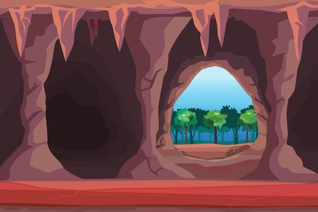 Ilustração da entrada da caverna na ilustração da floresta