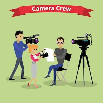 Ilustração da equipe de câmera