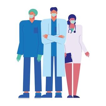 Ilustração da equipe de médicos profissionais usando máscaras médicas