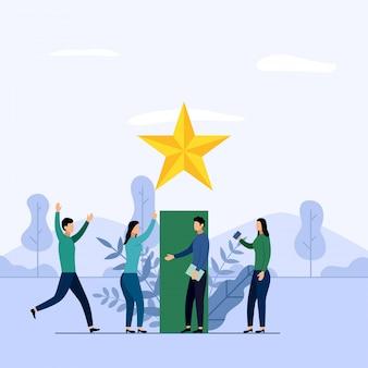 Ilustração da equipe de negócios e concorrência