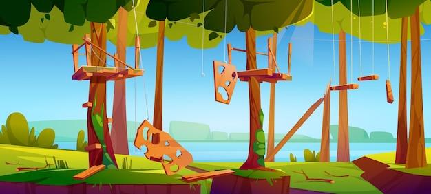 Ilustração da escada de corda do antigo parque de aventura