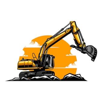 Ilustração da escavadeira com cor sólida