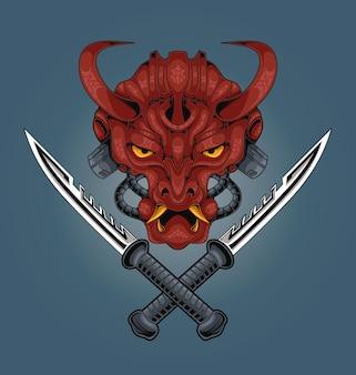 Ilustração da espada do samurai mecha do demônio