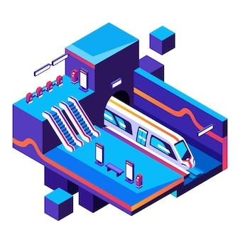 Ilustração da estação de trem do metro no seção transversal.