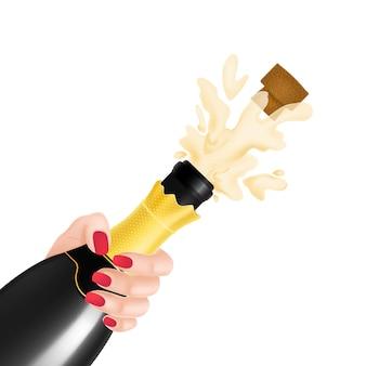 Ilustração da explosão da garrafa de champanhe