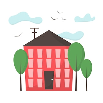 Ilustração da fachada do edifício um edifício é vermelho com janelas e uma porta paisagem da cidade