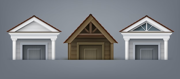 Ilustração da fachada do elemento, três pórticos feitos de madeira e concreto com colunas sobre a porta da casa em fundo cinza