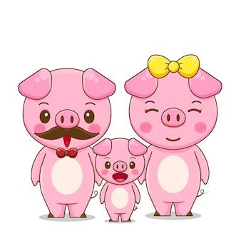 Ilustração da família de um porco fofo
