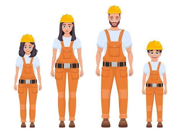 Ilustração da família do trabalhador isolada no branco