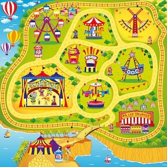 Ilustração da feira divertida de circo com palhaço e parque de diversões para crianças brincarem com design de tapete e tapete rolante