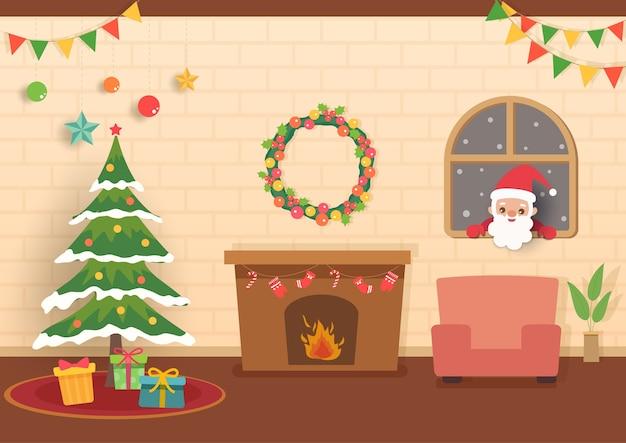 Ilustração da festa de natal em casa com o papai noel