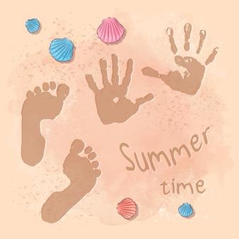 Ilustração da festa de verão na praia com pegadas na areia