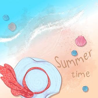 Ilustração da festa de verão na praia com um chapéu e ardósias na areia à beira-mar