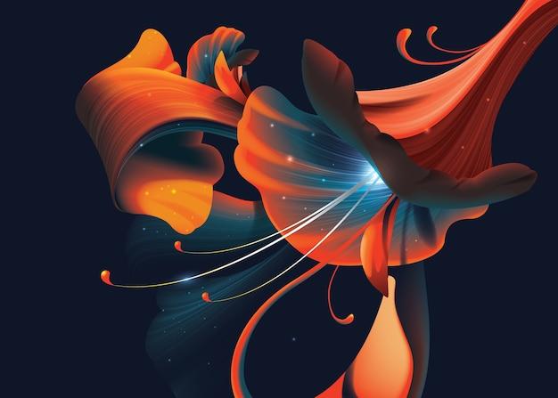 Ilustração da flor artística abstrata no fundo escuro Vetor Premium