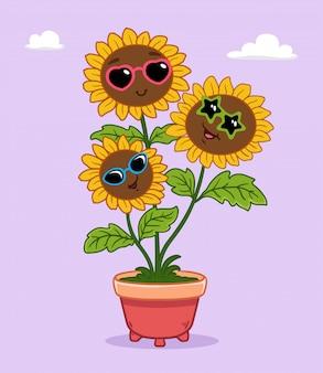 Ilustração da flor do sol trio