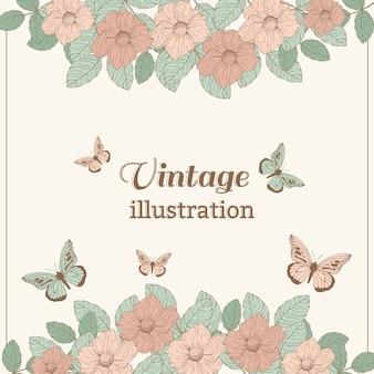 Ilustração da flor do vintage com borboleta