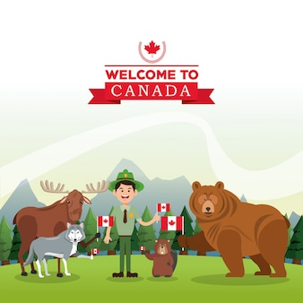 Ilustração da floresta animal