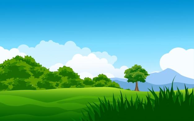 Ilustração da floresta com céu azul