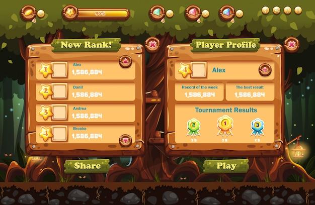 Ilustração da floresta de fadas à noite com lanternas e exemplos de telas, botões, barras de progressão para jogos de computador e web design. conjunto 1.