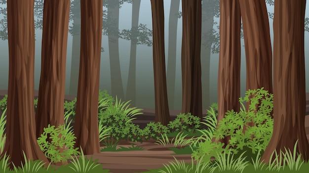 Ilustração da floresta de sequoias com nevoeiro