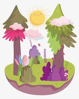 Ilustração da floresta dos desenhos animados