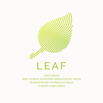 Ilustração da folha em um estilo linear. logotipo e sinal do vetor.