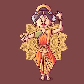 Ilustração da forma de dança bharatnatyam indiano