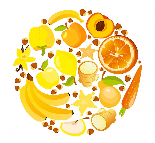 Ilustração da forma do círculo de frutas e legumes amarelos e vermelhos. nutrição saudável conceito orgânico estilo simples.