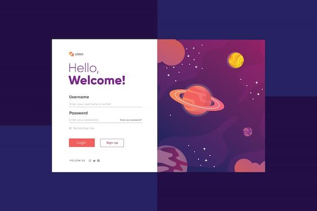 Ilustração da galáxia aleatória de planeta e estrelas com página de login