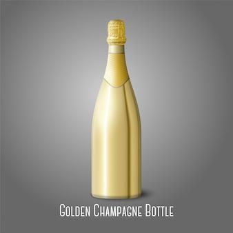Ilustração da garrafa de champanhe dourada sobre fundo cinza