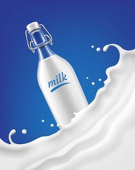 Ilustração da garrafa de vidro de leite com onda de respingo e gotas sobre fundo azul. produto lácteo de design de conceito