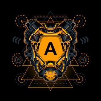 Ilustração da geometria sagrada do robô inicial