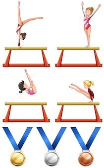 Ilustração da ginástica e das mulheres atletas