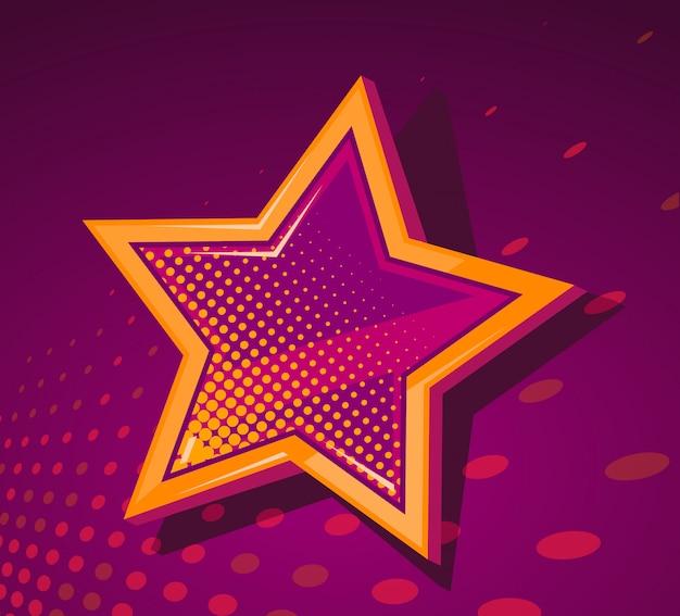 Ilustração da grande estrela dourada com manchas brilhantes sobre fundo vermelho escuro.