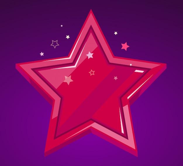 Ilustração da grande estrela vermelha em fundo roxo.