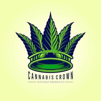 Ilustração da green leaf cannabis crown logo company Vetor Premium