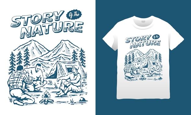 Ilustração da história da montanha da natureza