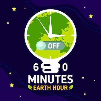 Ilustração da hora da terra com o relógio do planeta e lâmpada