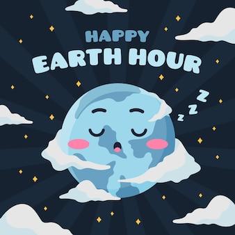 Ilustração da hora da terra com planeta sonolento