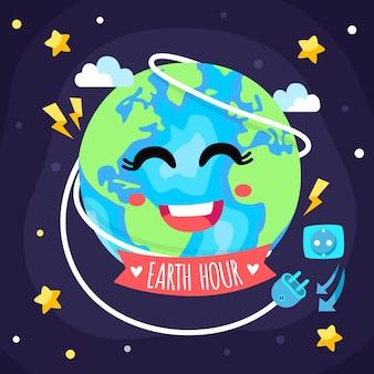 Ilustração da hora da terra com planeta sorridente