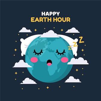 Ilustração da hora da terra plana