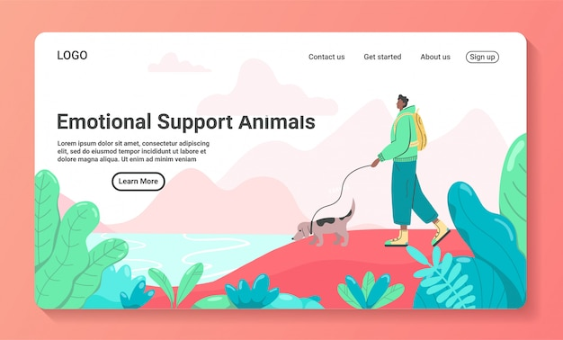 Ilustração da hora de viajar para um modelo de página de destino de viagens de negócios. homem turista viajando com animal de apoio emocional do cão. estilo simples