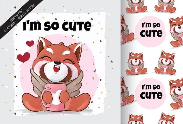 Ilustração da hora do café do panda vermelho pequeno bonito ilustração e conjunto de padrões