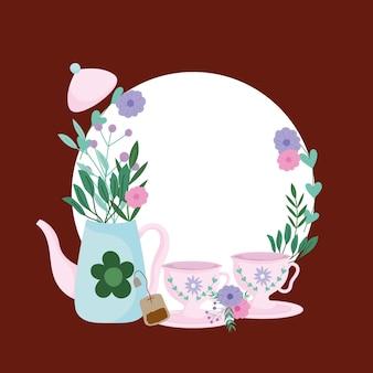 Ilustração da hora do chá, bule e xícaras de flores em saquinho de chá, plantas e ervas