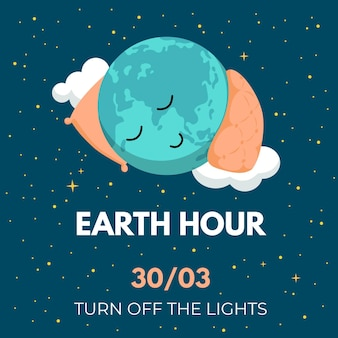 Ilustração da hora terrestre com planeta dormindo