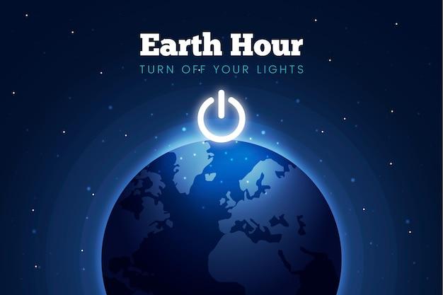 Ilustração da hora terrestre com planeta e botão de desligar