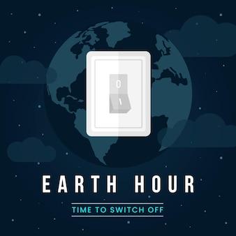 Ilustração da hora terrestre com planeta e interruptor de luz