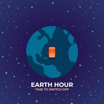 Ilustração da hora terrestre com planeta e interruptor