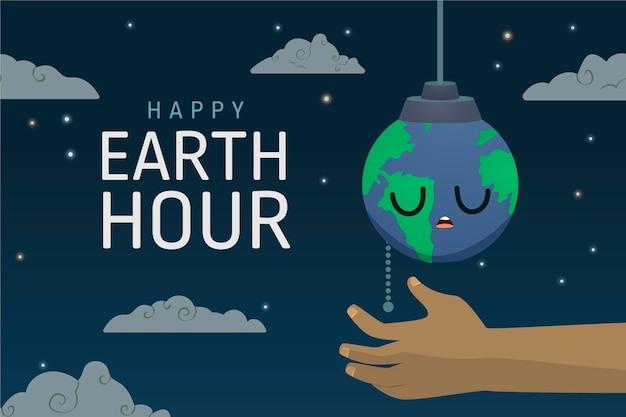 Ilustração da hora terrestre desenhada à mão com a mão desligando o planeta