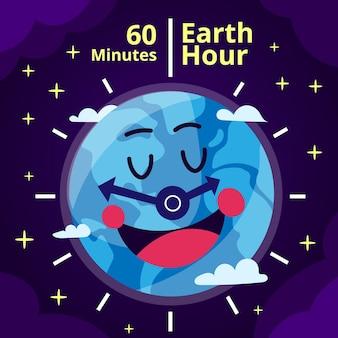 Ilustração da hora terrestre desenhada à mão com o planeta sorridente e o relógio
